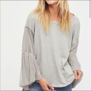 FREE PEOPLE  Still Got It Mesh Bell Sleeve Top L